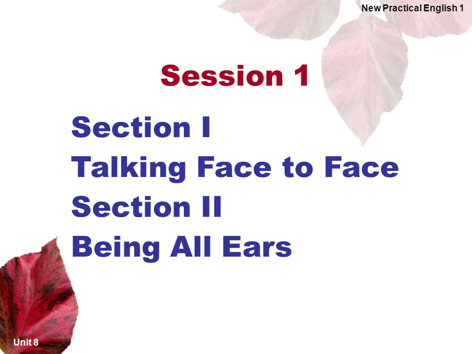 Section I Talking Face to Face Section II Being All Ears