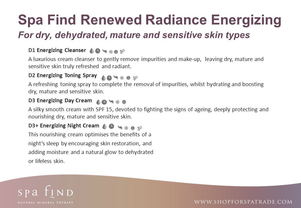Spa Find Renewed Radiance Energizing For dry, dehydrated, mature and sensitive skin types