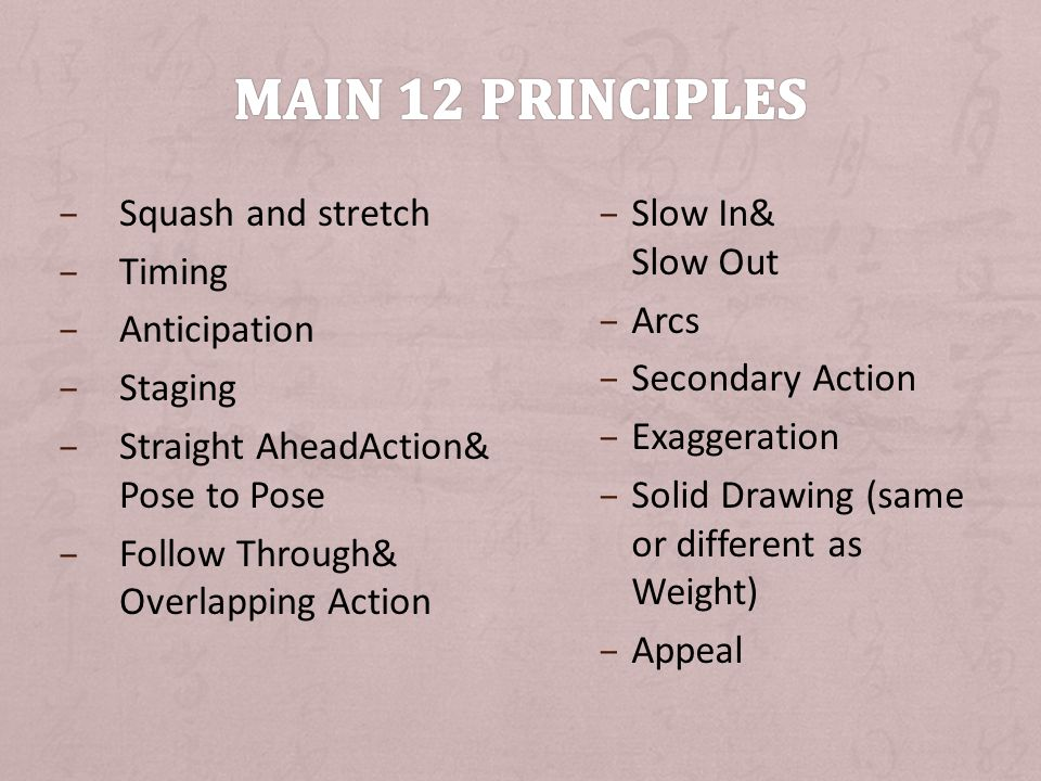 Main 12 Principles Squash and stretch Timing Anticipation Staging