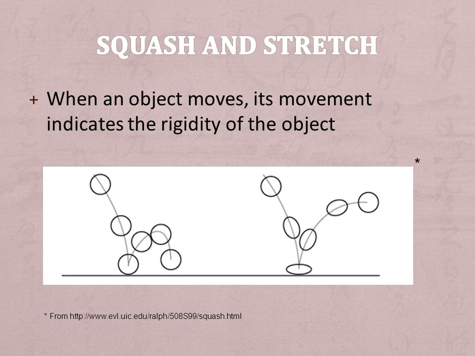 Squash and Stretch When an object moves, its movement indicates the rigidity of the object. *