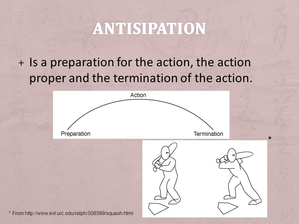 Antisipation Is a preparation for the action, the action proper and the termination of the action. *