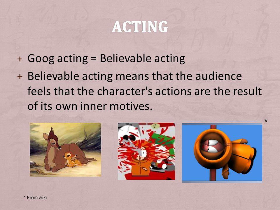 Acting Goog acting = Believable acting