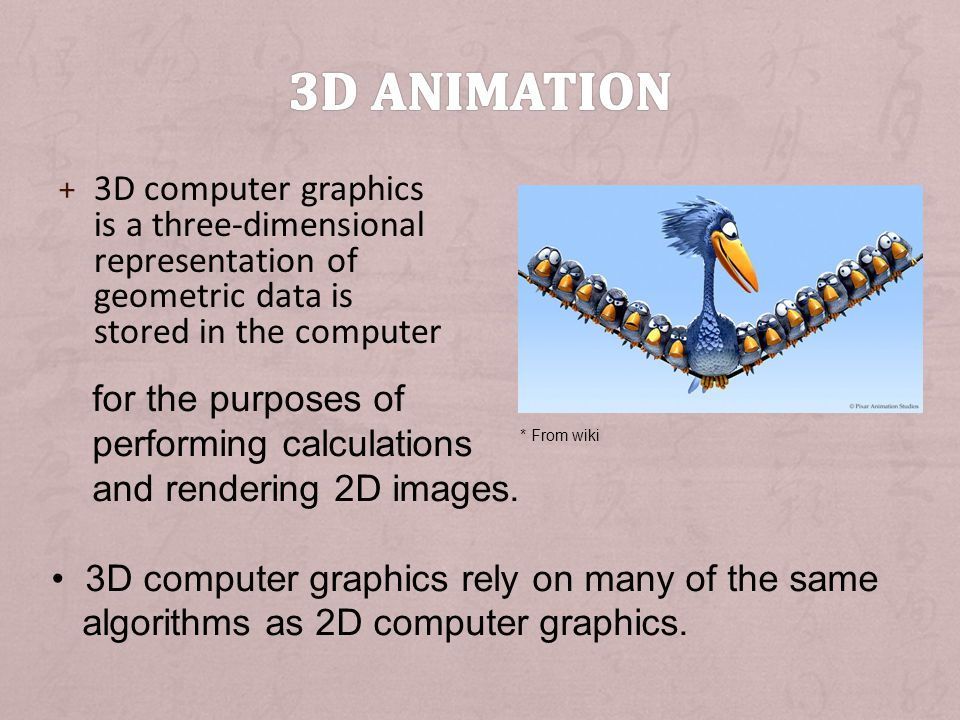 3D animation 3D computer graphics is a three-dimensional representation of geometric data is stored in the computer.