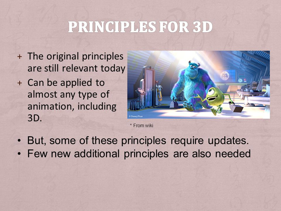 Principles for 3D The original principles are still relevant today