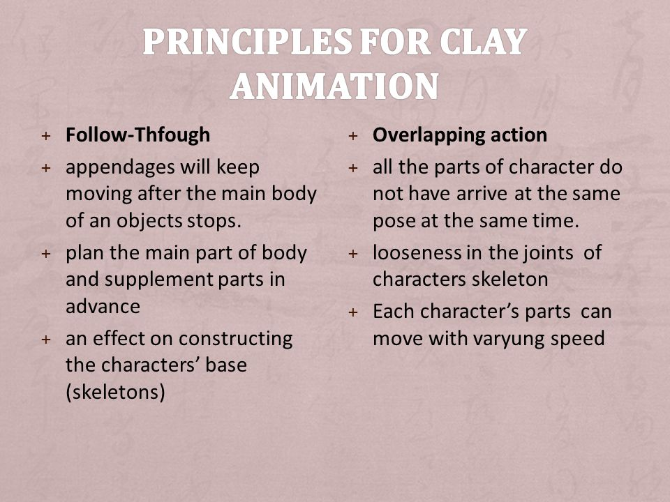 Principles for Clay animation