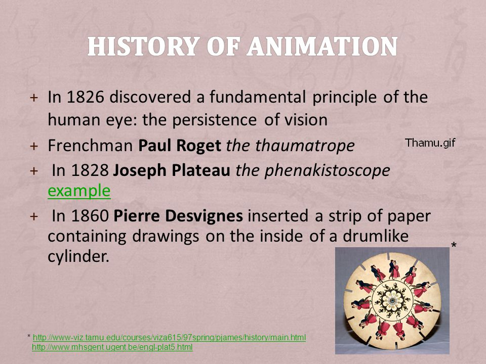 History of animation In 1826 discovered a fundamental principle of the human eye: the persistence of vision.