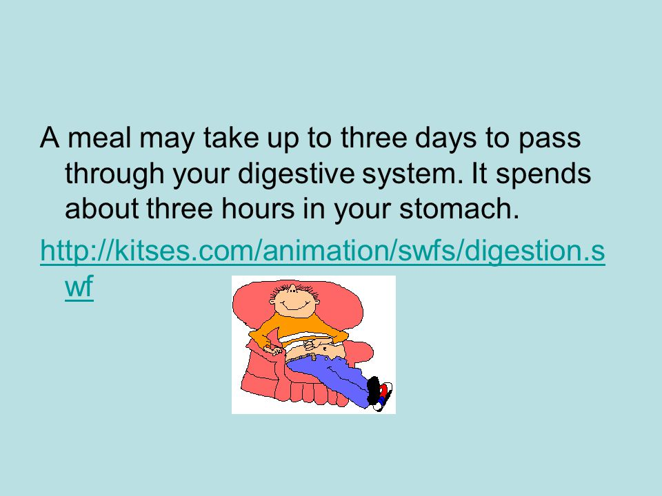 A meal may take up to three days to pass through your digestive system