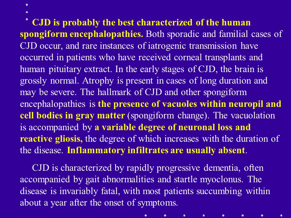 CJD is probably the best characterized of the human spongiform encephalopathies. Both sporadic and familial cases of CJD occur, and rare instances of iatrogenic transmission have occurred in patients who have received corneal transplants and human pituitary extract. In the early stages of CJD, the brain is grossly normal. Atrophy is present in cases of long duration and may be severe. The hallmark of CJD and other spongiform encephalopathies is the presence of vacuoles within neuropil and cell bodies in gray matter (spongiform change). The vacuolation is accompanied by a variable degree of neuronal loss and reactive gliosis, the degree of which increases with the duration of the disease. Inflammatory infiltrates are usually absent.