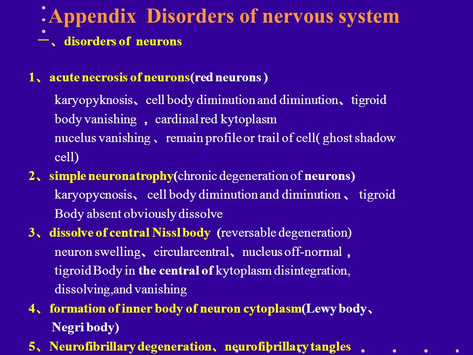 Appendix Disorders of nervous system