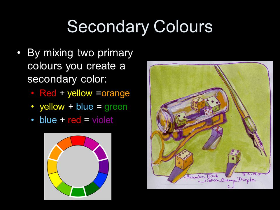 Secondary Colours By mixing two primary colours you create a secondary color: Red + yellow =orange.