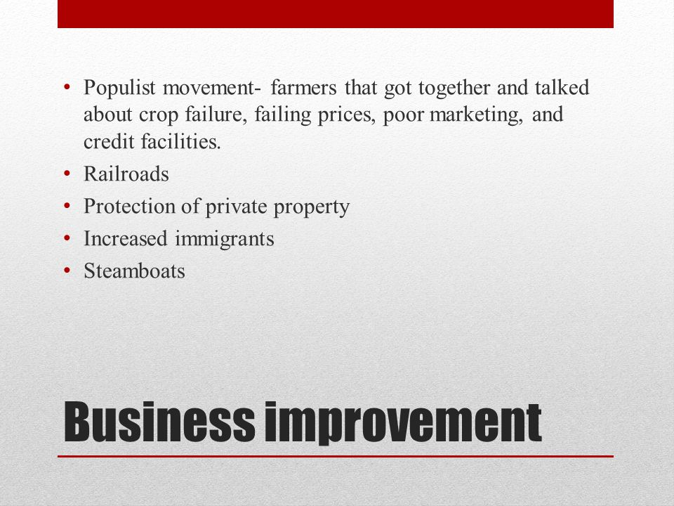 Populist movement- farmers that got together and talked about crop failure, failing prices, poor marketing, and credit facilities.