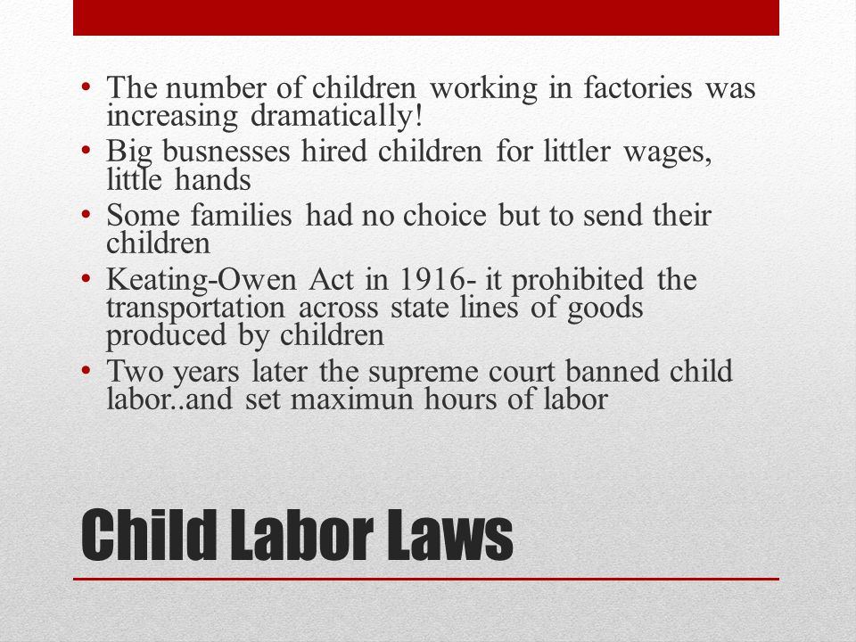 The number of children working in factories was increasing dramatically!