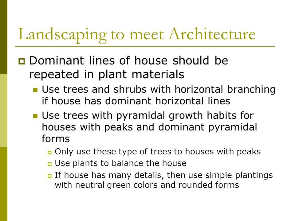 Landscaping to meet Architecture