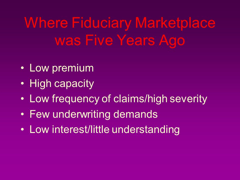 Where Fiduciary Marketplace was Five Years Ago