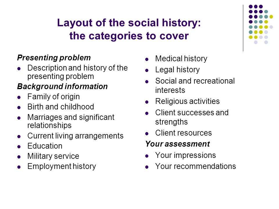 Layout of the social history: the categories to cover