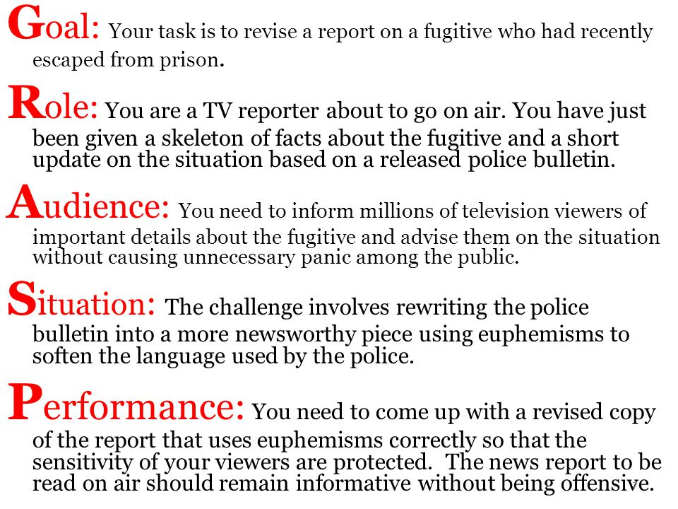 Goal: Your task is to revise a report on a fugitive who had recently escaped from prison.