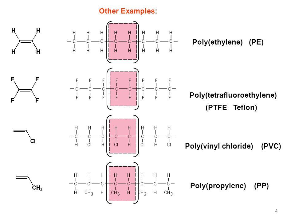 Other Examples: Poly(ethylene) (PE) Poly(tetrafluoroethylene) (PTFE Teflon) Poly(vinyl chloride) (PVC)