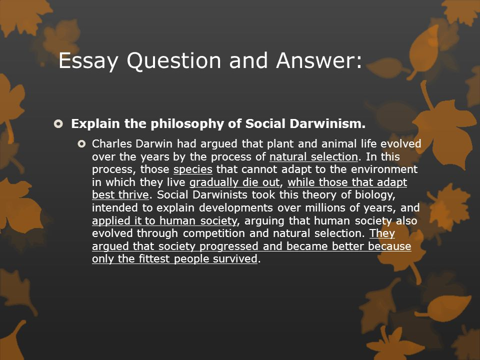 urban america the gilded age ppt video online  14 essay question and answer explain the philosophy of social darwinism
