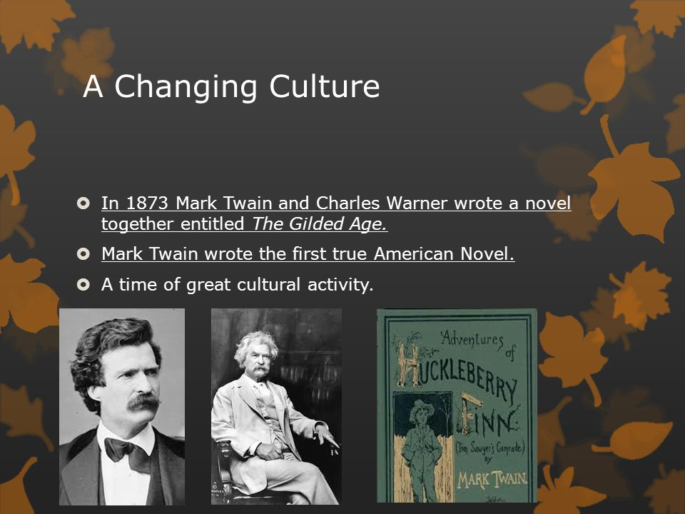 A Changing Culture In 1873 Mark Twain and Charles Warner wrote a novel together entitled The Gilded Age.