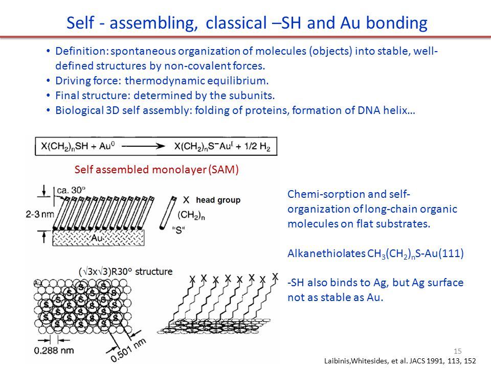 Self - assembling, classical –SH and Au bonding