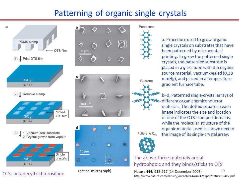 Patterning of organic single crystals