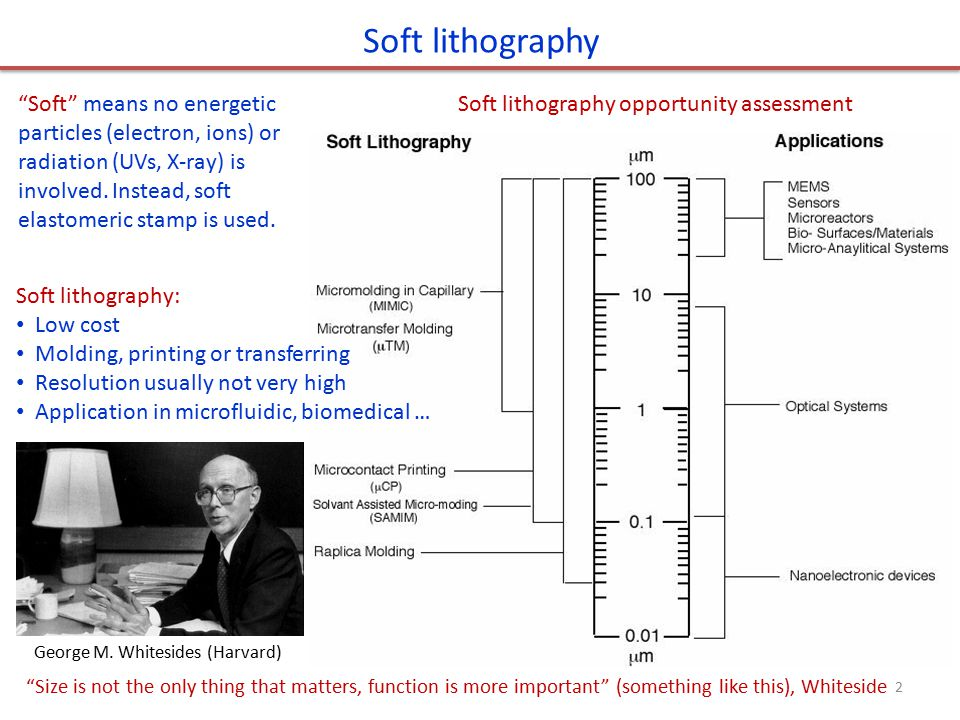 Soft lithography Soft means no energetic particles (electron, ions) or radiation (UVs, X-ray) is involved. Instead, soft elastomeric stamp is used.