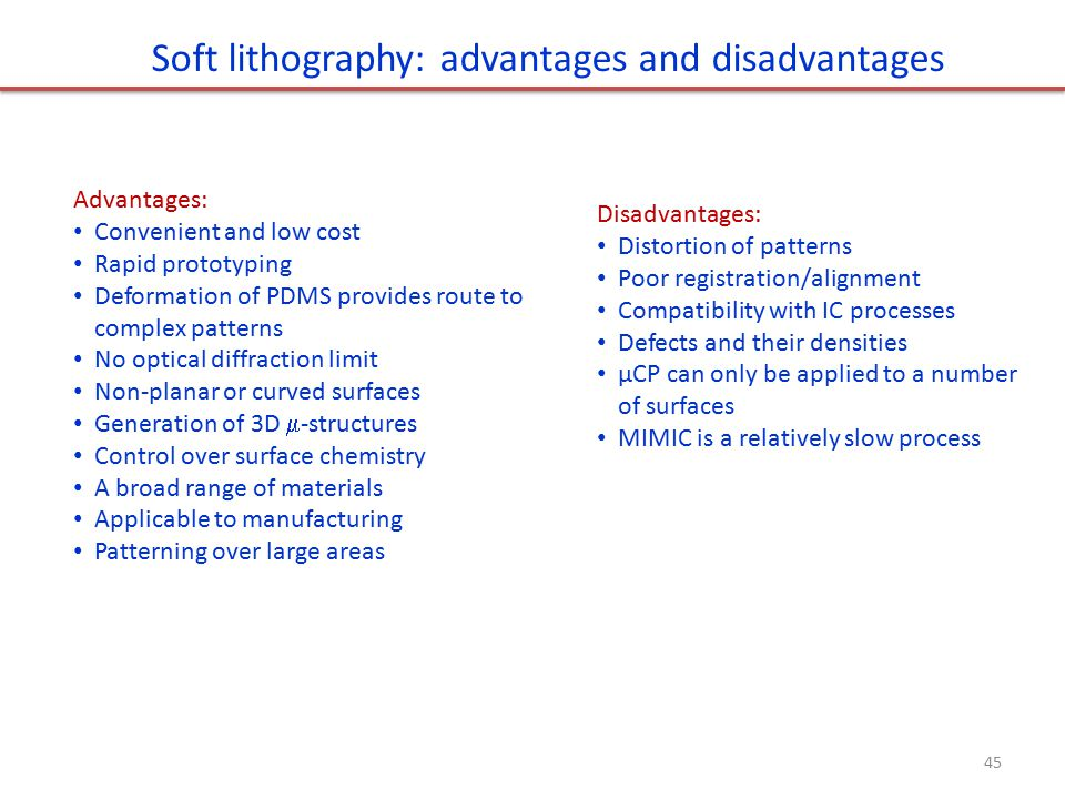 lithography disadvantages Table 1 compares the advantages and disadvantages of conventional pho- across a large area and may limit the utility of soft lithography in multilayer.