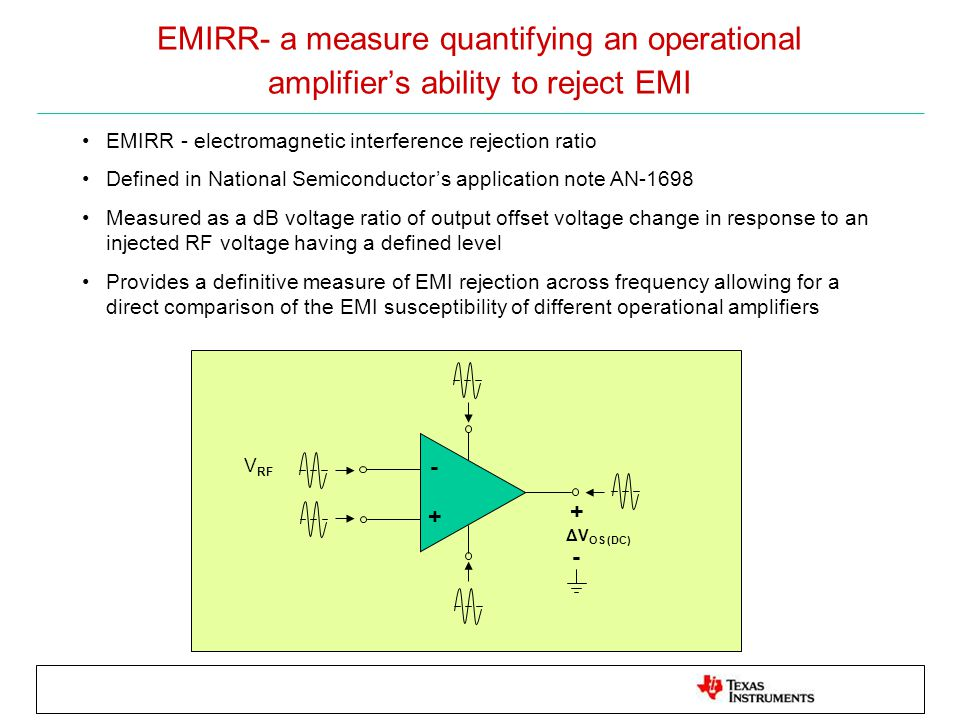 EMIRR- a measure quantifying an operational amplifier's ability to reject EMI