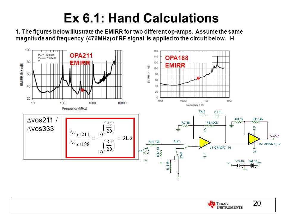 Ex 6.1: Hand Calculations ∆vos211 / ∆vos333 OPA211 EMIRR OPA188 EMIRR