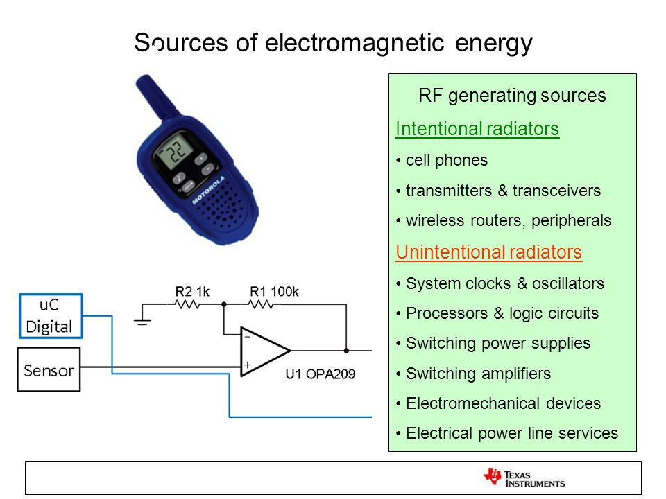 Sources of electromagnetic energy