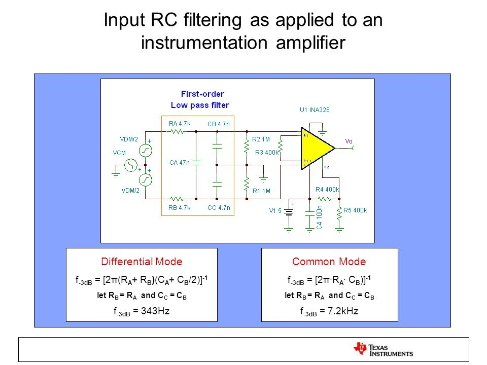 Input RC filtering as applied to an instrumentation amplifier