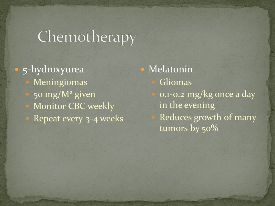 Chemotherapy 5-hydroxyurea Melatonin Meningiomas 50 mg/M2 given