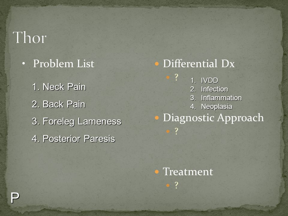 Thor P Problem List Differential Dx Diagnostic Approach Treatment