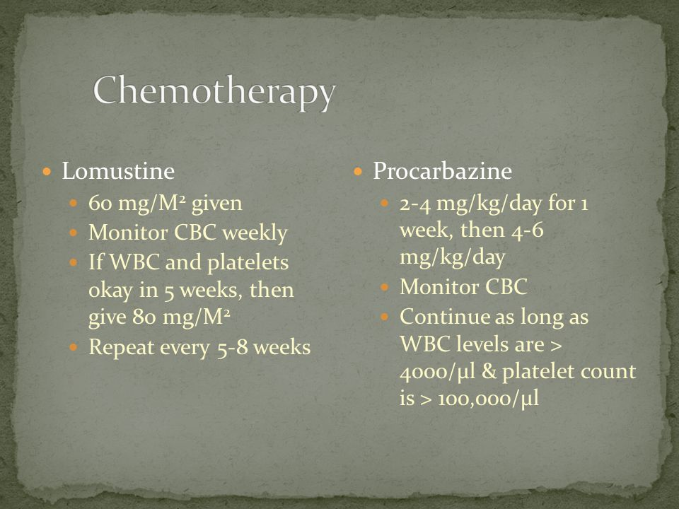 Chemotherapy Lomustine Procarbazine 60 mg/M2 given Monitor CBC weekly