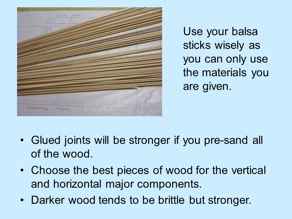Use your balsa sticks wisely as you can only use the materials you are given.