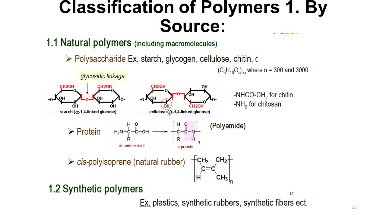 Classification of Polymers 1. By Source:
