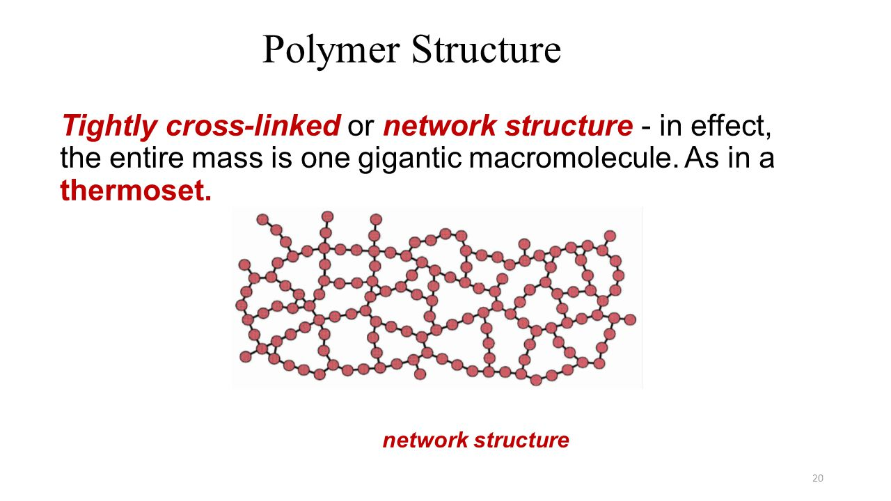 Polymer Structure Tightly cross-linked or network structure - in effect, the entire mass is one gigantic macromolecule. As in a thermoset.