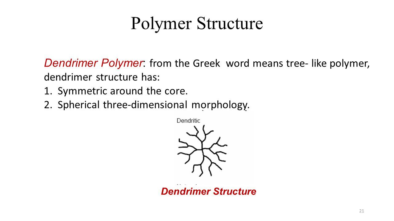 Polymer Structure Dendrimer Polymer: from the Greek word means tree- like polymer, dendrimer structure has: