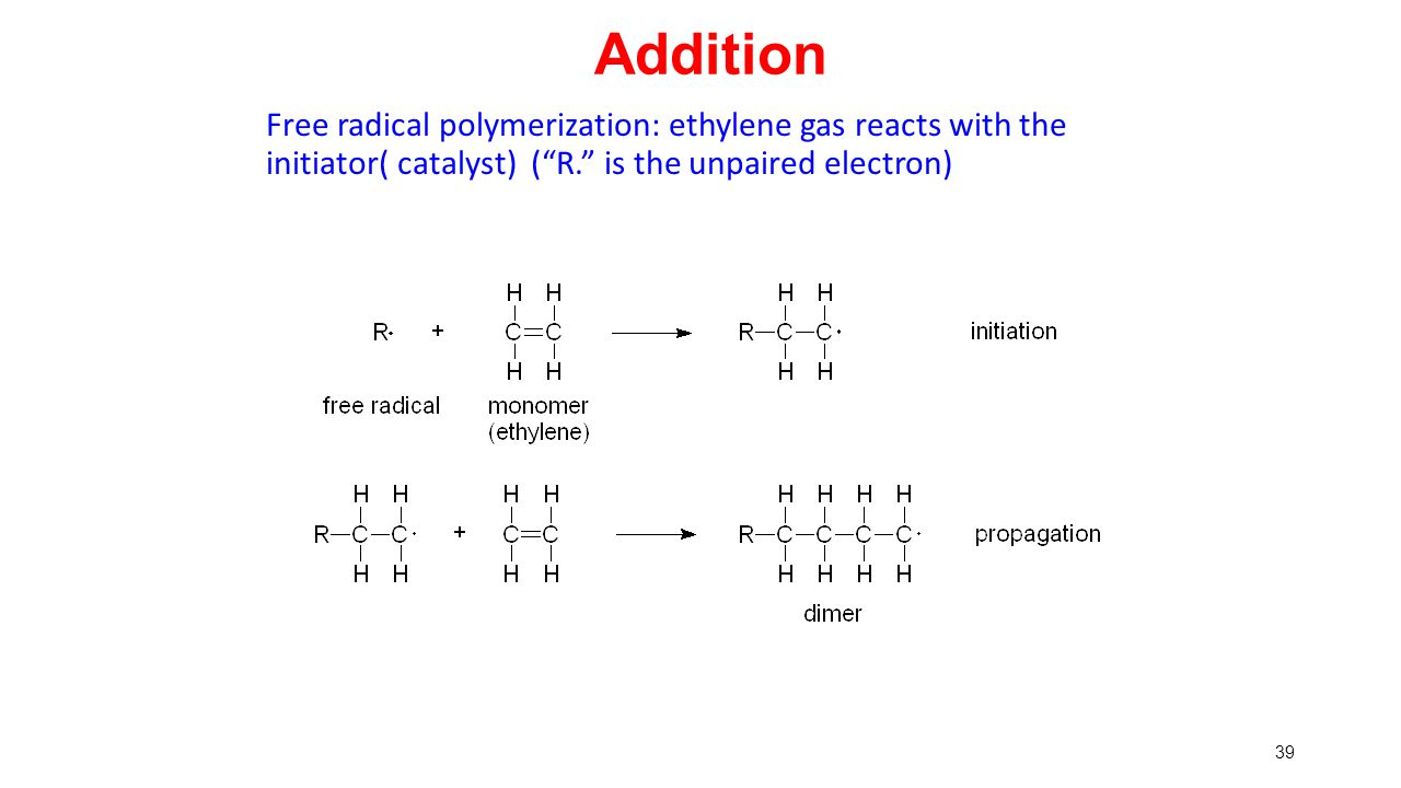 Addition Free radical polymerization: ethylene gas reacts with the initiator( catalyst) ( R. is the unpaired electron)