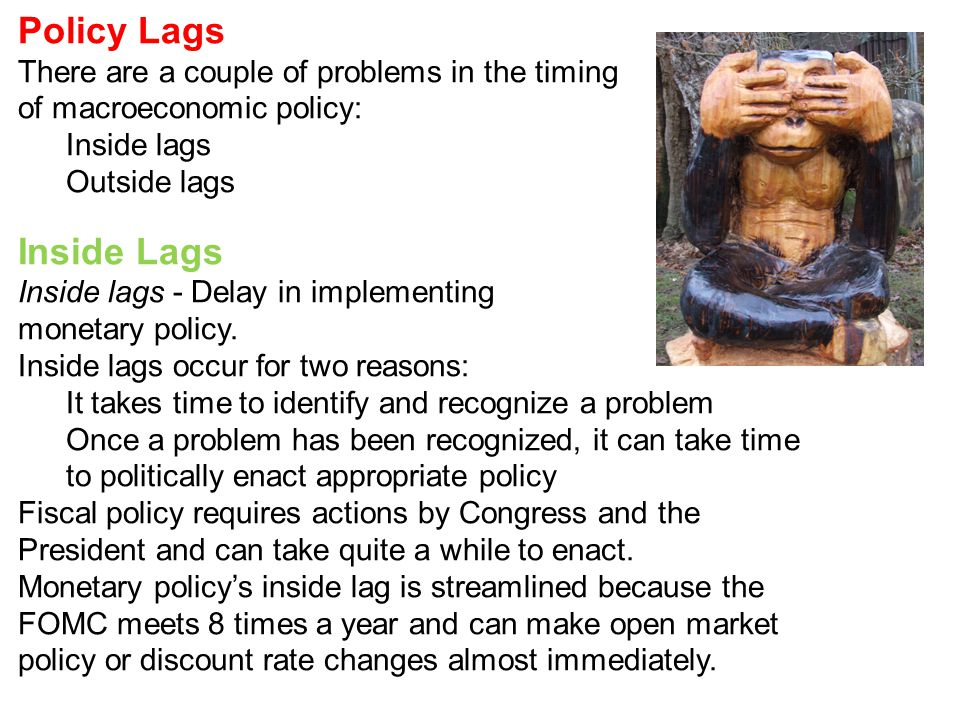 Policy Lags Inside Lags There are a couple of problems in the timing