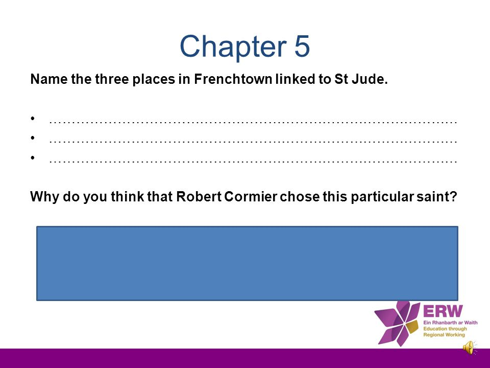 Chapter 5 Name the three places in Frenchtown linked to St Jude.