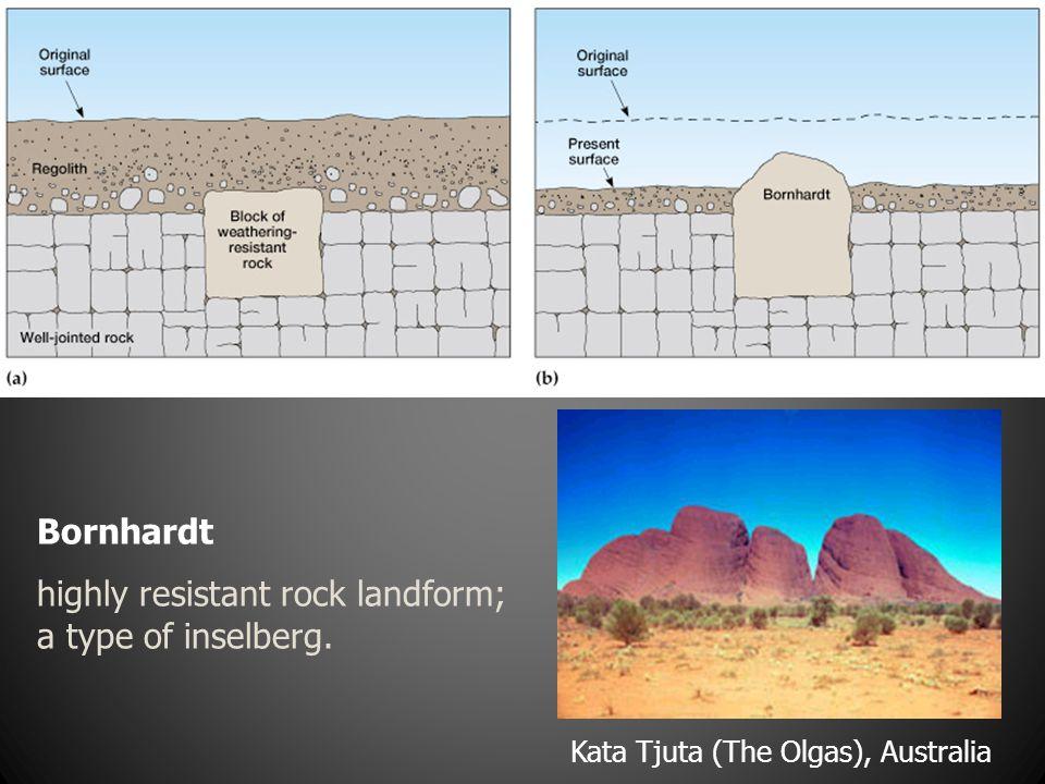 Bornhardt highly resistant rock landform; a type of inselberg. Kata Tjuta (The Olgas), Australia