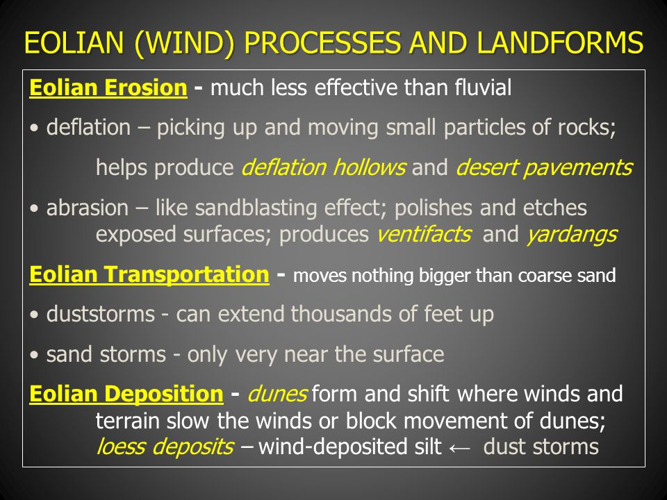 EOLIAN (WIND) PROCESSES AND LANDFORMS