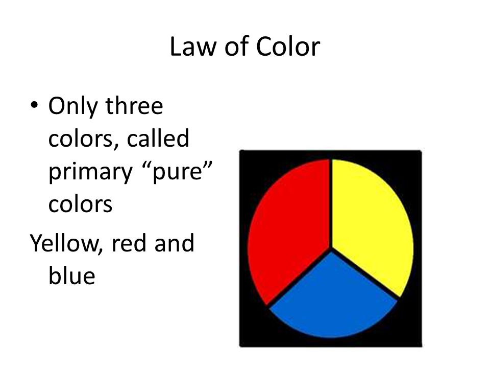 Law of Color Only three colors, called primary pure colors