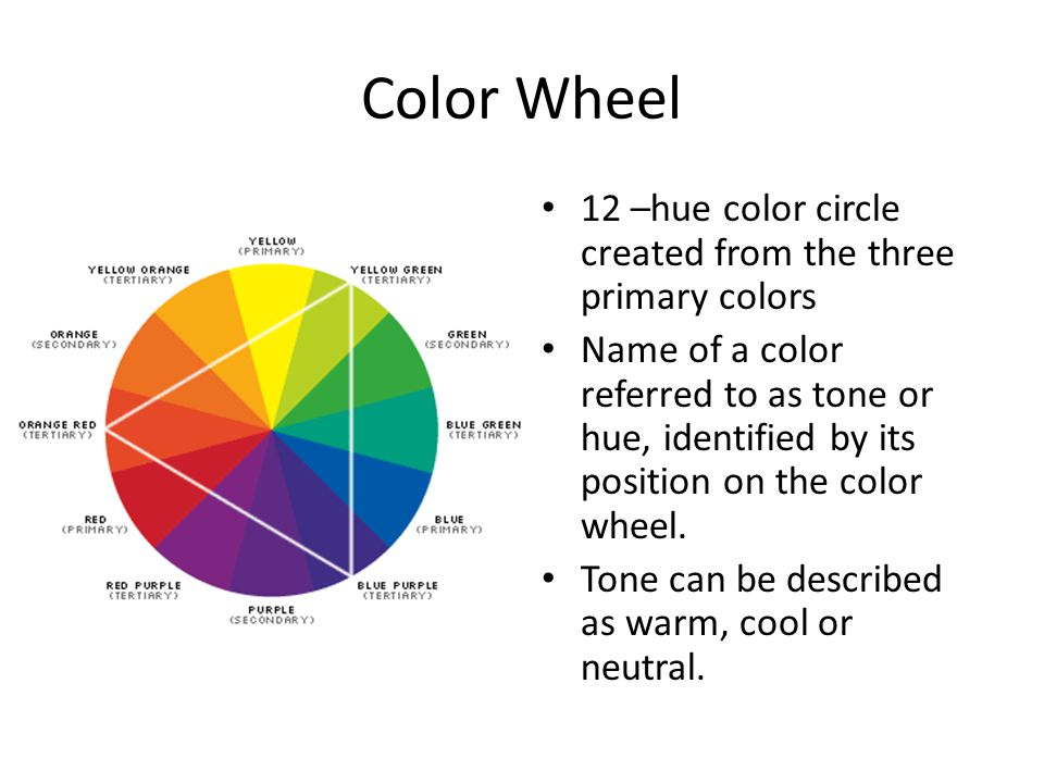 Color Wheel 12 –hue color circle created from the three primary colors