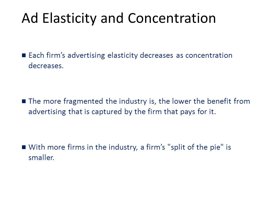 Ad Elasticity and Concentration
