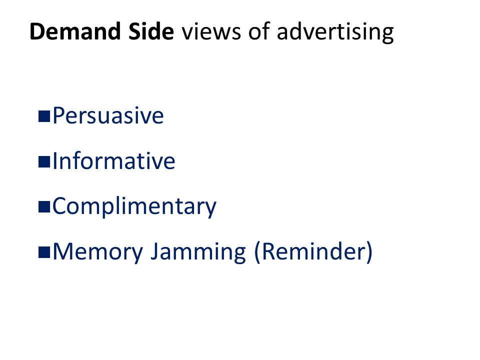 Demand Side views of advertising