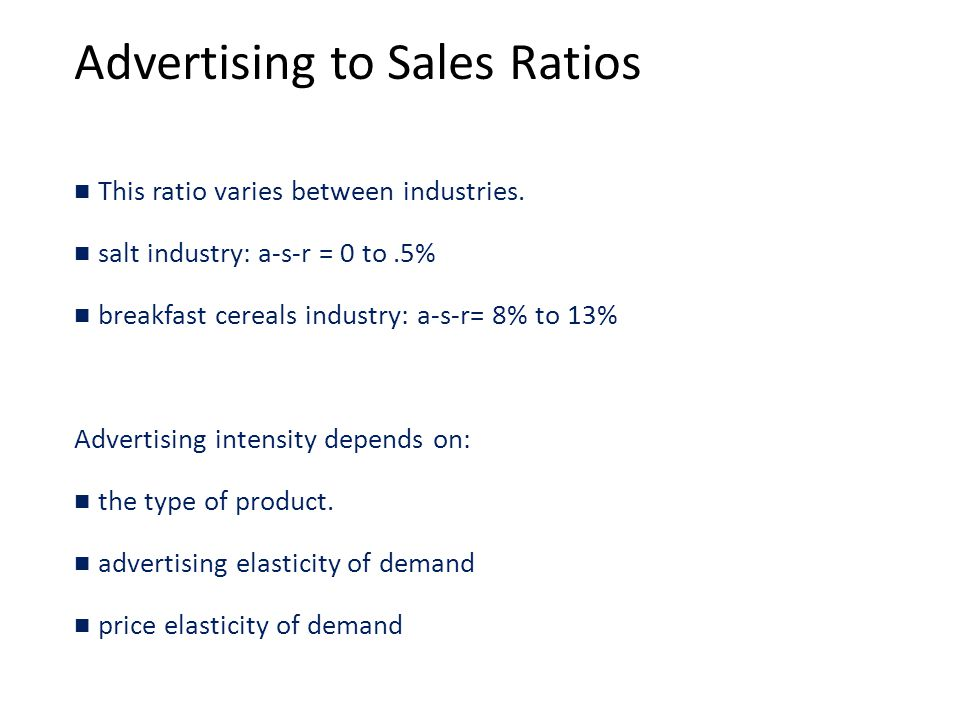 Advertising to Sales Ratios