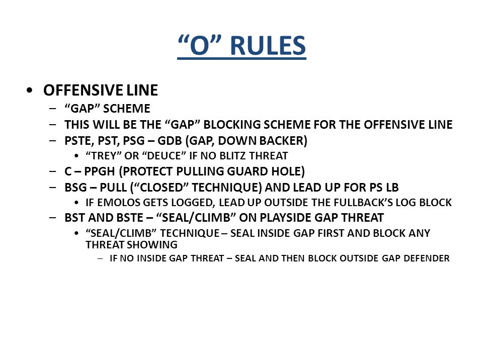 O RULES OFFENSIVE LINE GAP SCHEME