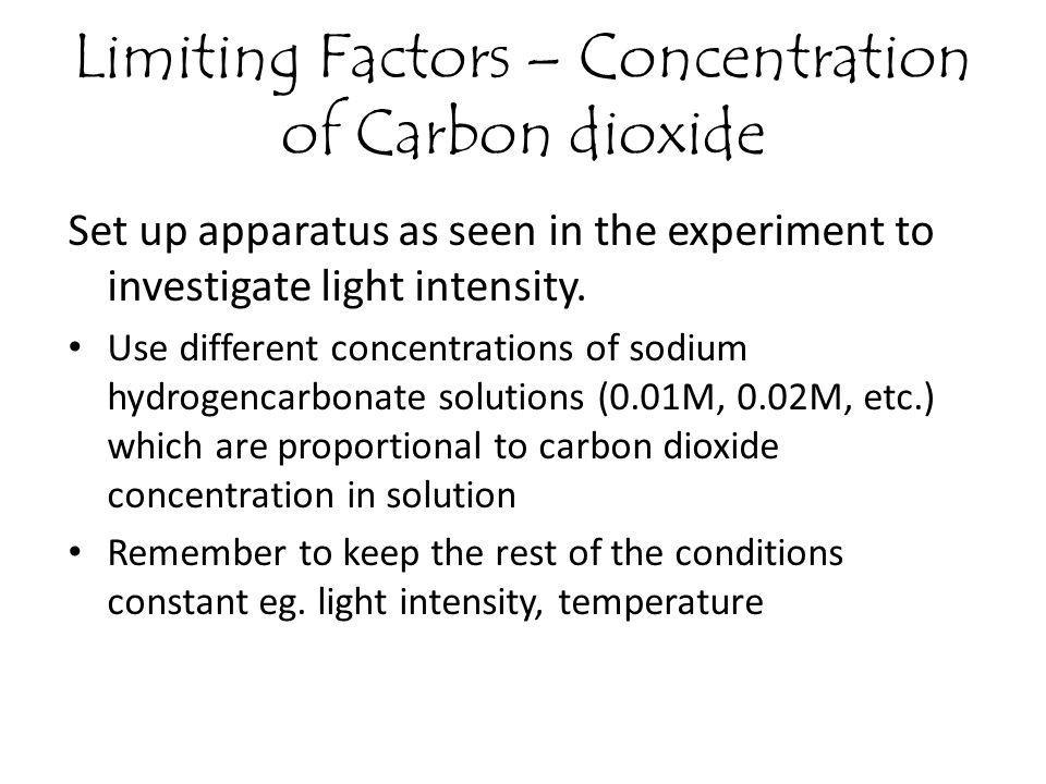 Limiting Factors – Concentration of Carbon dioxide